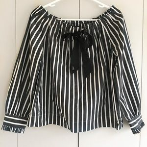 JCrew Off the shoulder striped bow top , Size XS